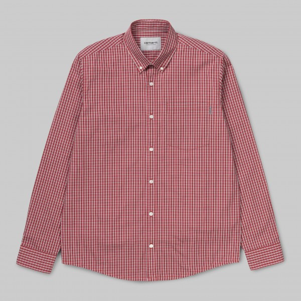 Carhartt WIP L/S Alistair Shirt Etna Red Check i027504,08r,90,03