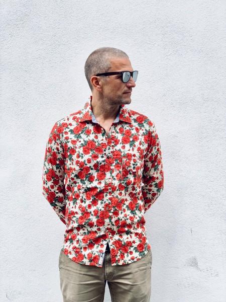 Scarti Lab Cotton Shirt Flower Red 312-SL381