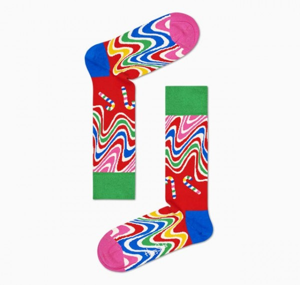 Happy Socks Womens Psychedelic Candy Cane Socks Red 36-40 PCC01-4300