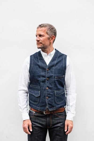 Scarti Lab Cotton Vest Indigo Raw 403 SW325