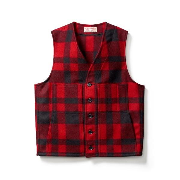Filson Mackinaw Wool Vest Red Black 11010055