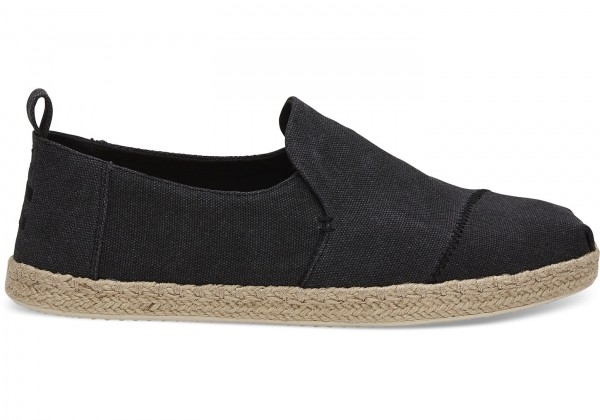 TOMS Mens Black Washed Canvas Deconstructed 10011621