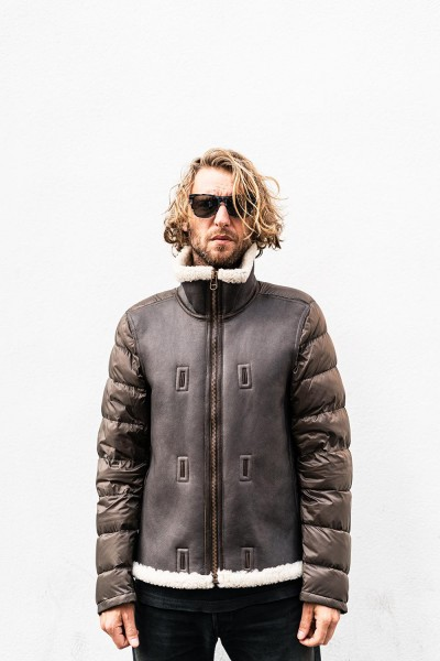 Ten-C Shearling Hooded Liner Tabacco Smooth Lambleather 19CTCUD03092 002575 103