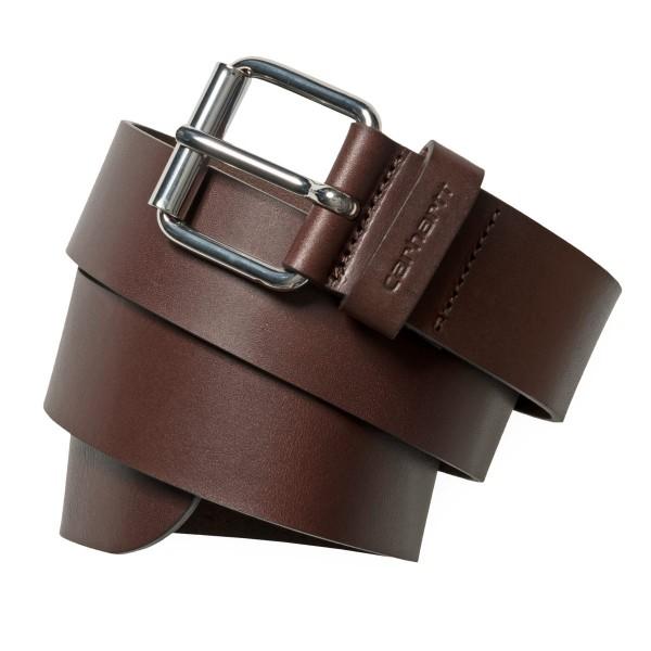Carhartt WIP Script Belt Cow Leather Dark Brown/Silver I003003