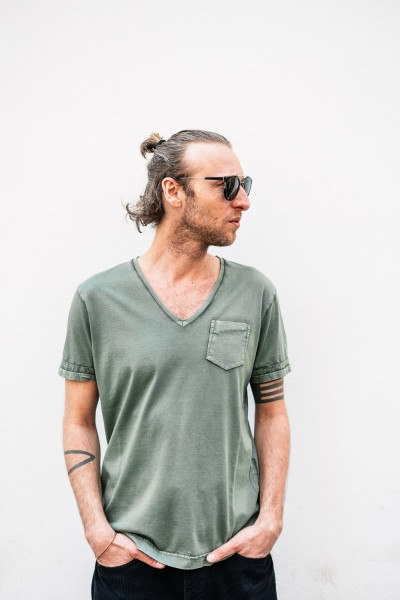 Crossley BIFERTC Man V-Neck Pocket Shirt S/S Green BIFERTC 832C