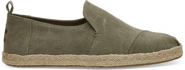 TOMS Mens Olive Washed Canvas Deconstructed 10011624