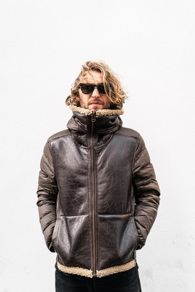 Ten-C Shearling Hooded Liner Tabacco Rough Lambleather 005873 365