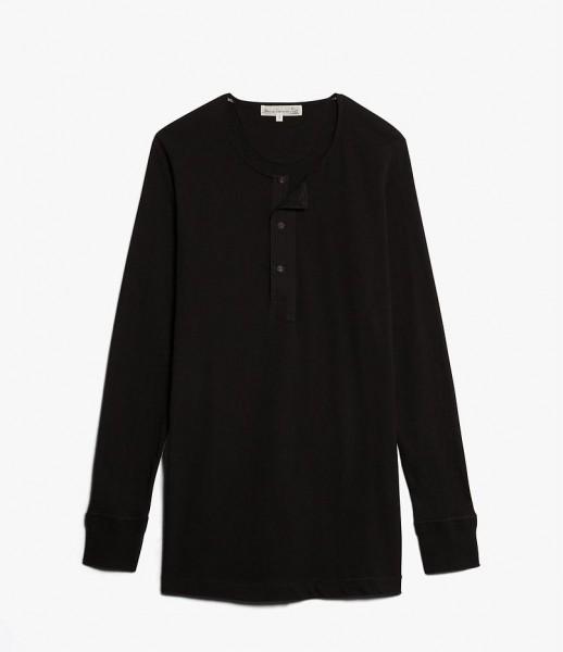 Merz b. Schwanen 102 Button Border Shirt Black 102.99