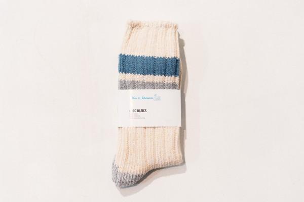 Merz b. Schwanen GS02 Cotton Socks Nature Light Blue One Size / 39-42