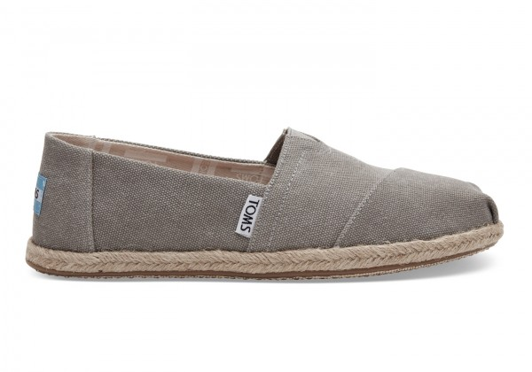 TOMS Womens Drizzle Grey Washed Canvas Esparilles 10009754