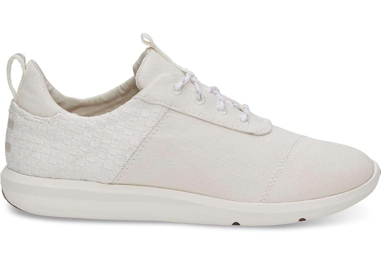 b0d46f36c1698 TOMS Womens White Cabrillo Basketweave Sneaker Canvas 10011750