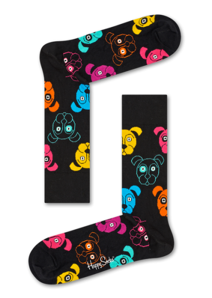 Happy Socks Womens Dog Socks Black 36-40